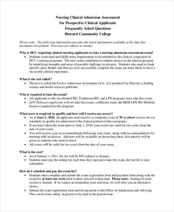 nursing admission assessment