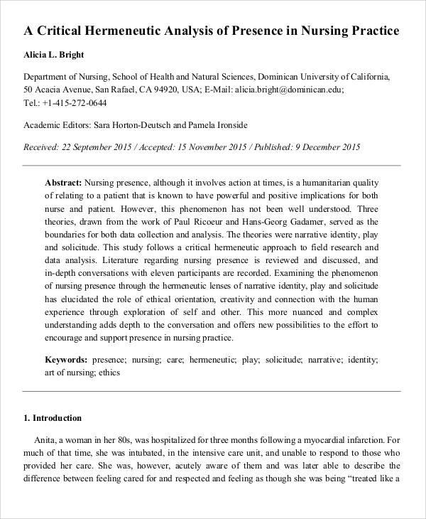 nursing critical analysis