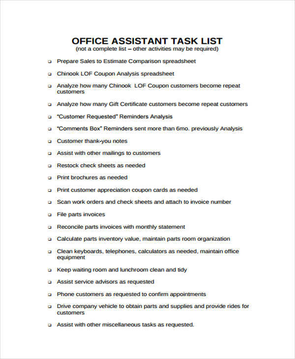 office assistant task list