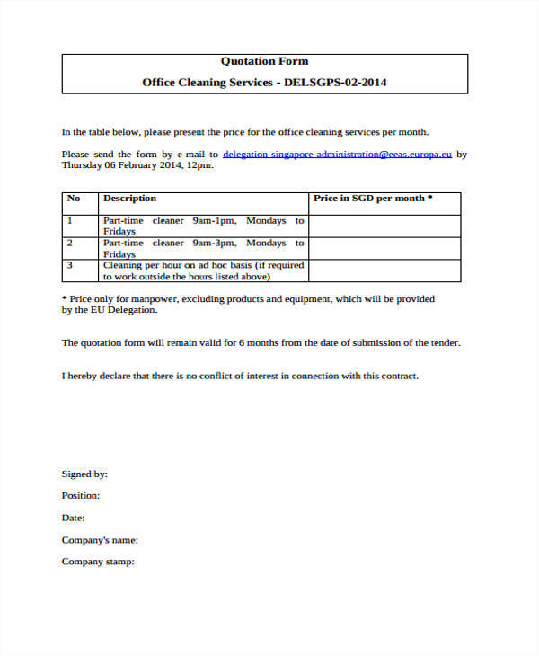 Cleaning Quotation Samples  Templates In Pdf