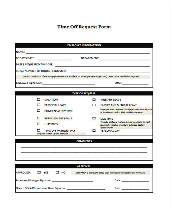 Time Off Request Form In Pdf Employment Verification Letter