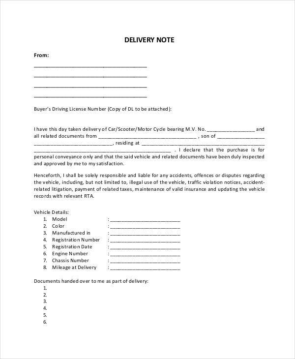 online delivery note