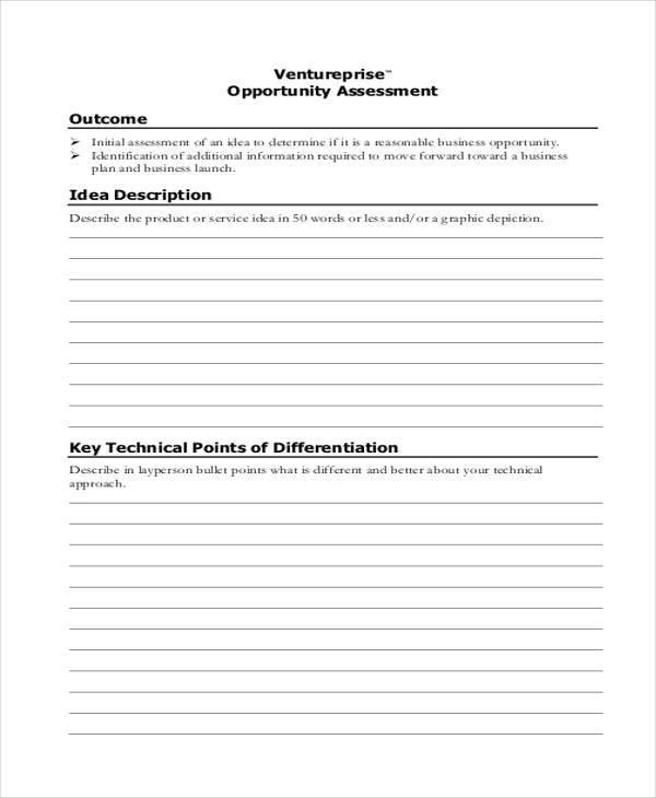 opportunity assessment sample