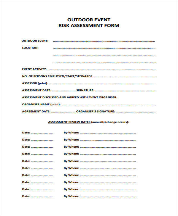 outdoor event risk assessment form