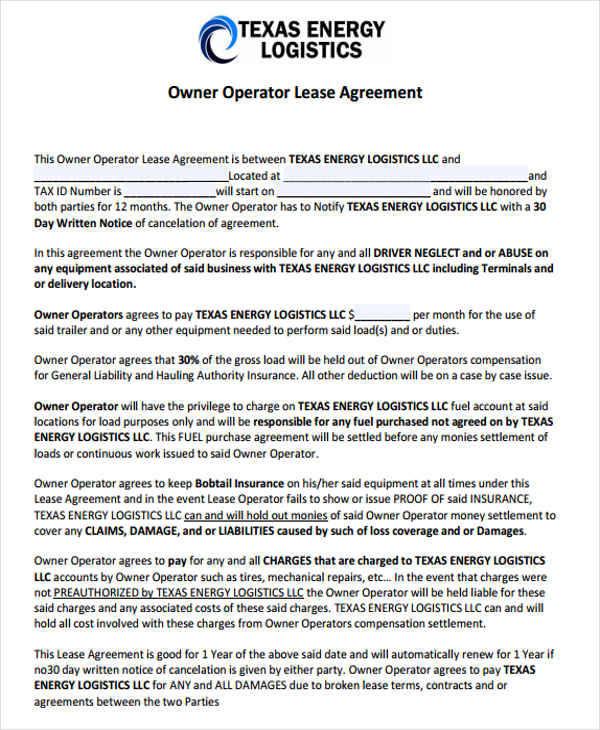 Owner Operator Lease Agreement Template Sample Independent