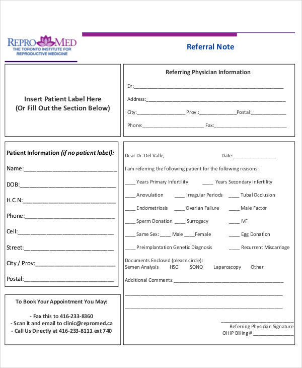 patient referral note