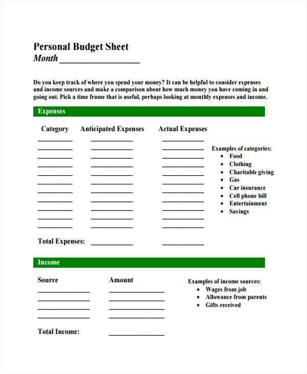 personal budget sheet1