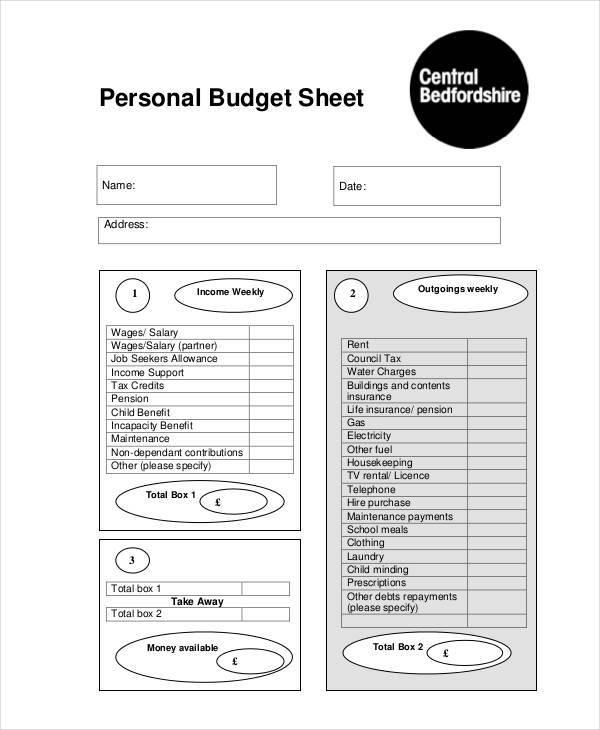 personal budget sheet2