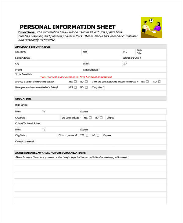 46 printable sheet samples templates sample templates for Personal fact sheet template
