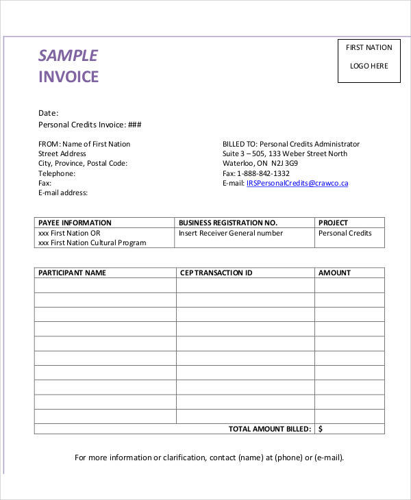 Sample Personal Invoice   Examples In Pdf Word