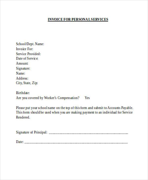 personal invoice