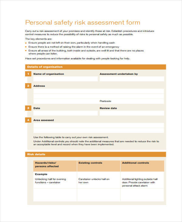personal safety risk assessment form