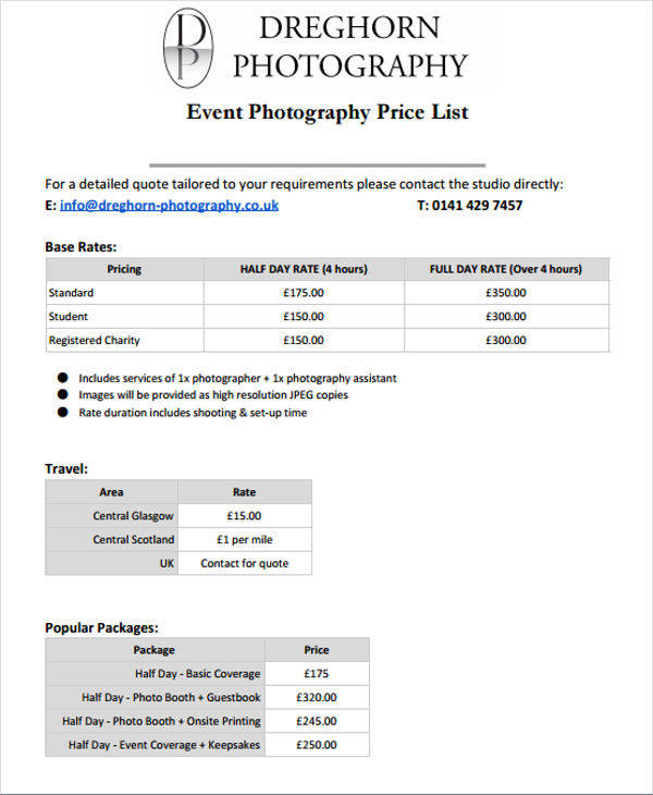 photography price