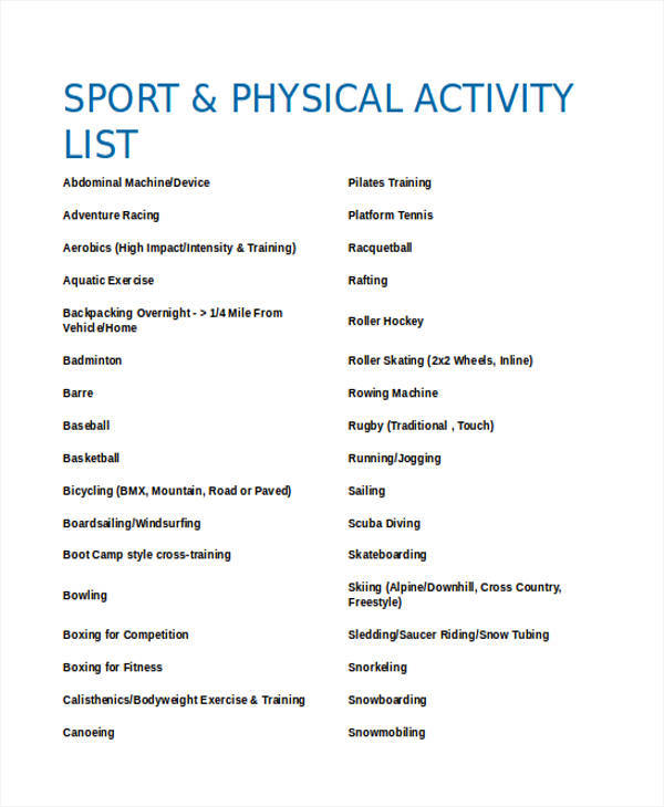 physical activity list
