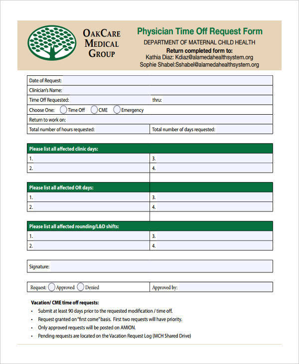 physician time off request form1