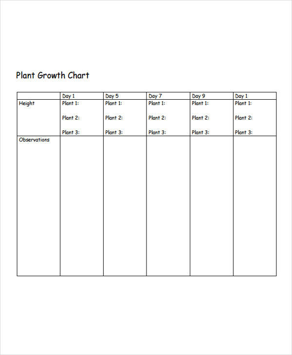 plant growth chart example