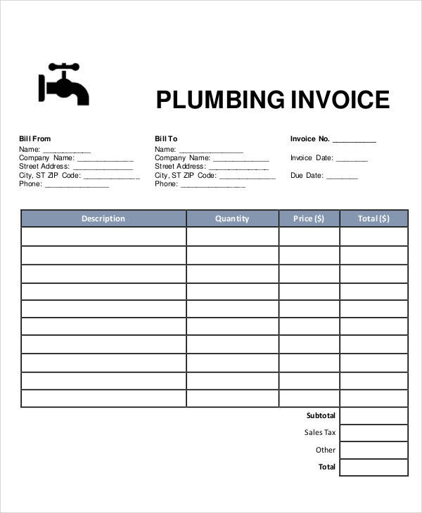 Sample Plumbing Invoice 7 Examples In Pdf Excel