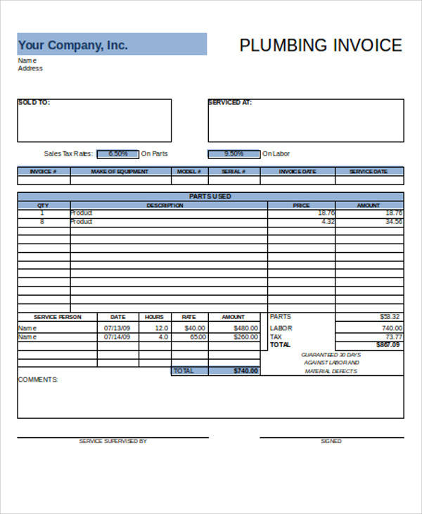Attractive Plumbing Invoice Sample Inside Plumbing Invoice Sample