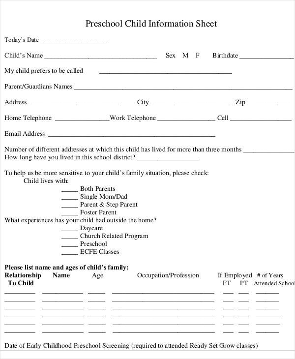 preschool child information sheet