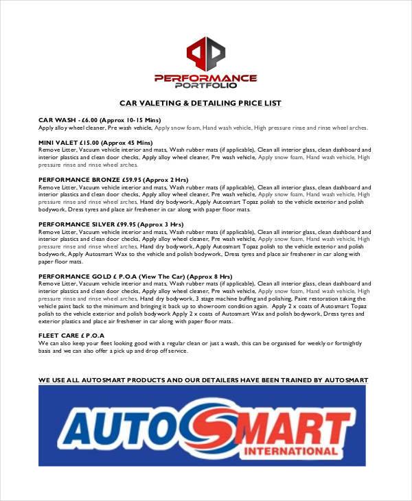price list for car detaining