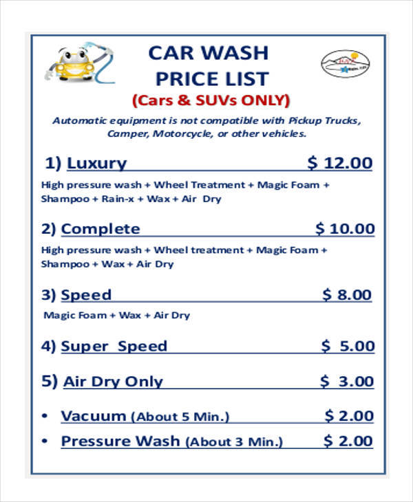 price list for car washing
