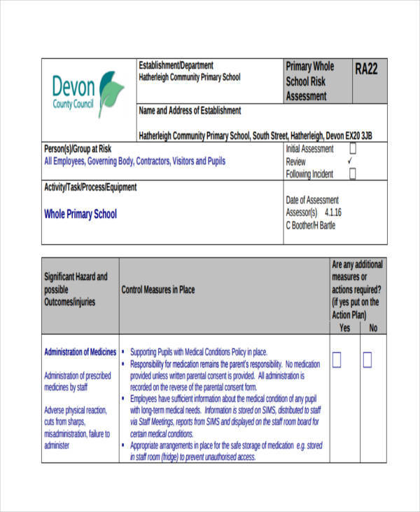 primary school risk assessment form