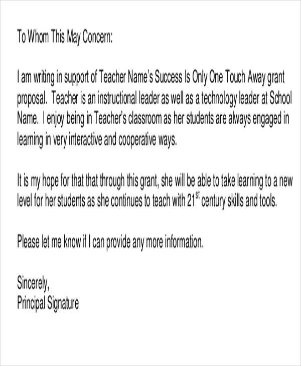 prinicipal endorsement letter