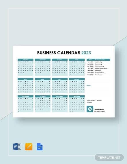 printable business calendar template