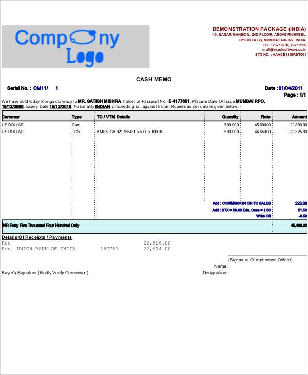 printable cash memo example