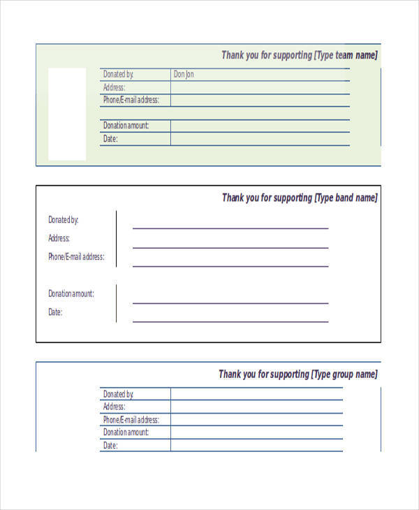 printable fundraiser receipt