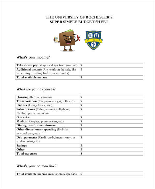 printable sheet for budget