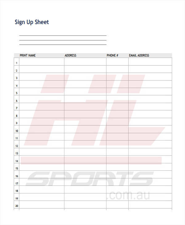 printable sheet for sign up
