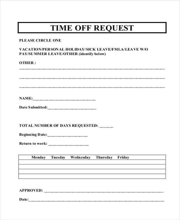 15  sample time off request forms