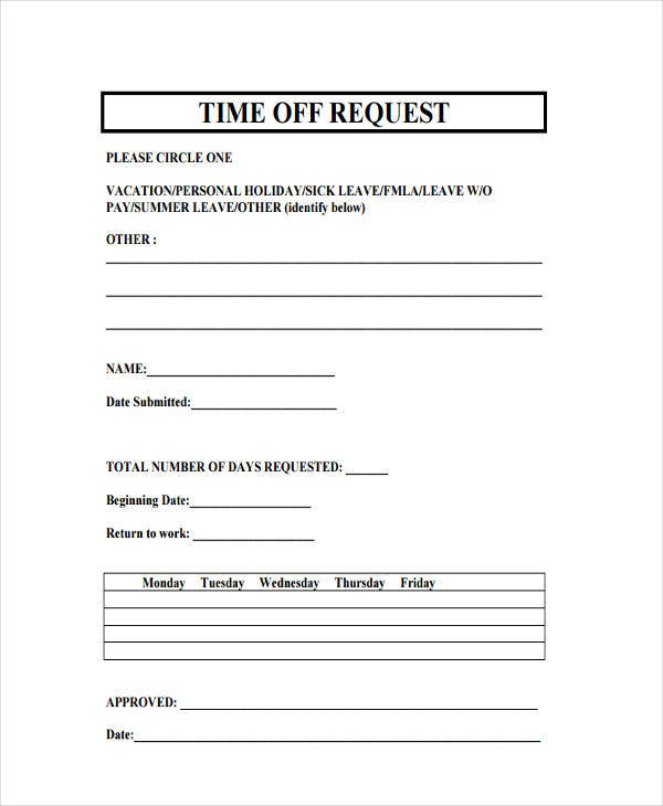 Free Time Off Request Forms