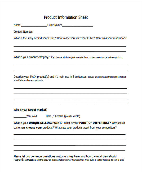 Information Sheet Templates  Free Sample Example Format