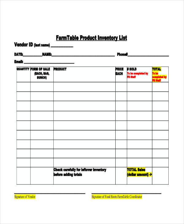 Food List Samples Sample Restaurant Inventory Documents In Pdf