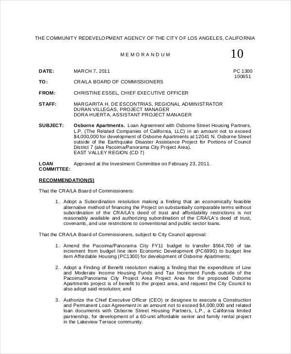 Professional Board Memo Template  Project Memo Template