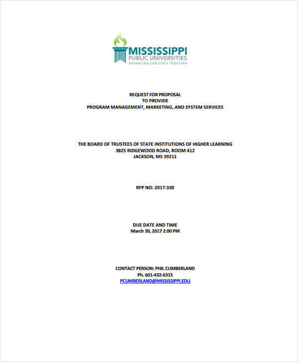 program management request proposal