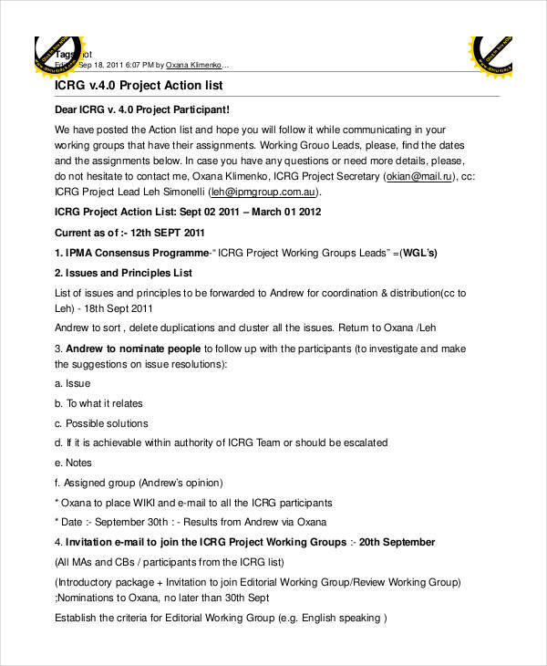 project action sample list1