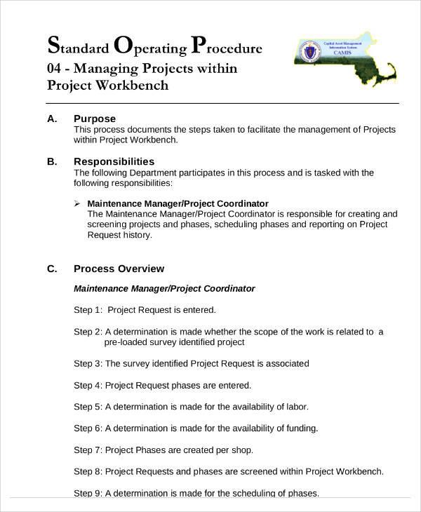 standard operation procedure format