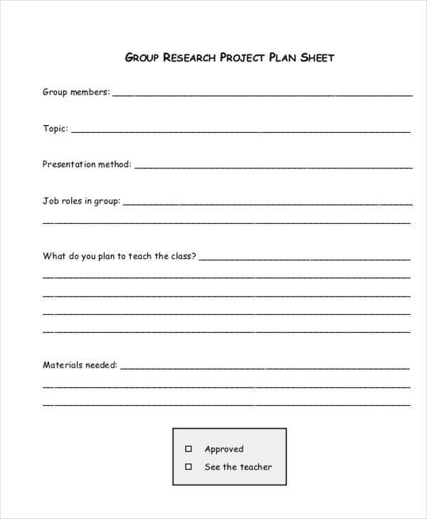 project plan sample sheet