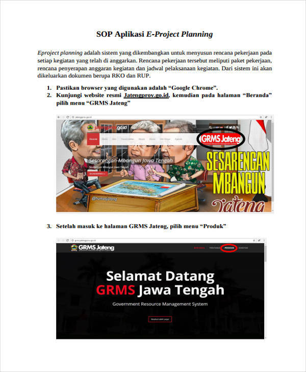 project planning sop