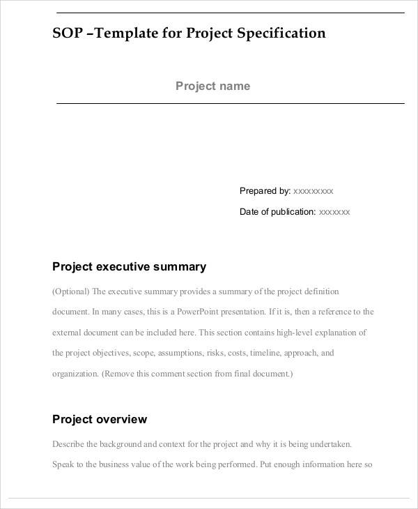 project specification sop1