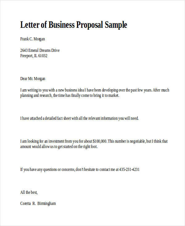 business proposal letter 31 business formats sample templates 13306 | Proposal Letter for Standard Business2