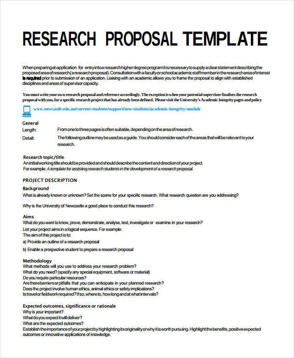 Research Project Proposal Template  Proposals Templates