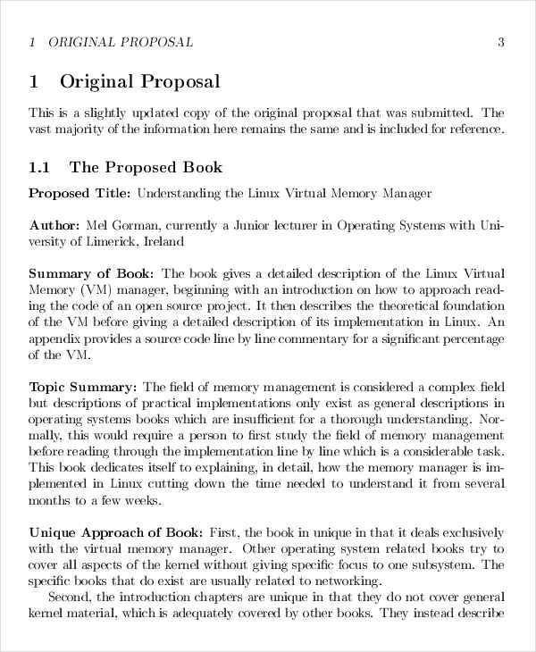 Book Proposals  Free Sample Example Format Download
