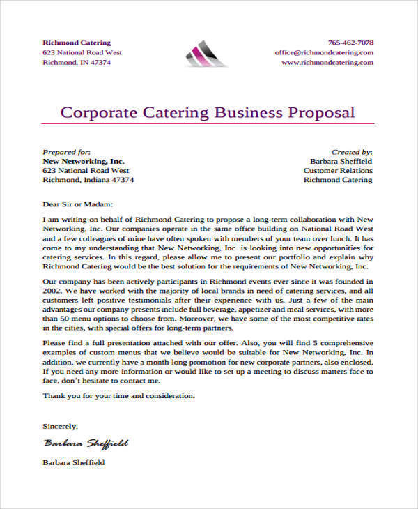 proposal for catering business