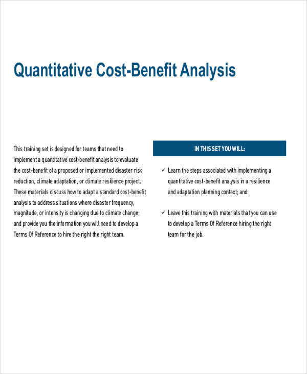 quantitative benefits risk analysis