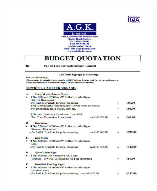 quotation budget in pdf1