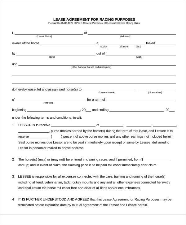 race horse lease agreement